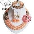 Melocotón de Plata Beads Africanos Boda Nigerianos Crystal Aretes Collar de la dama de honor de regalos de La Joyería Nueva ABD960