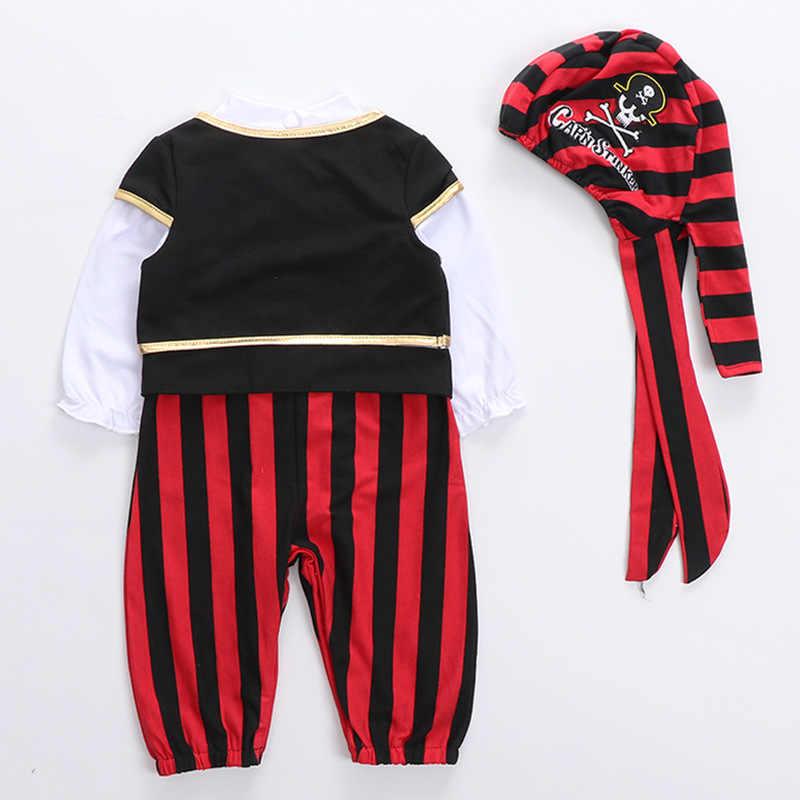 Одежда для маленьких мальчиков Прекрасный новый ребенок Пират капитан Хэллоуин комплект для мальчиков Детский костюм для танцев Косплэй молодых children4 шт костюмы