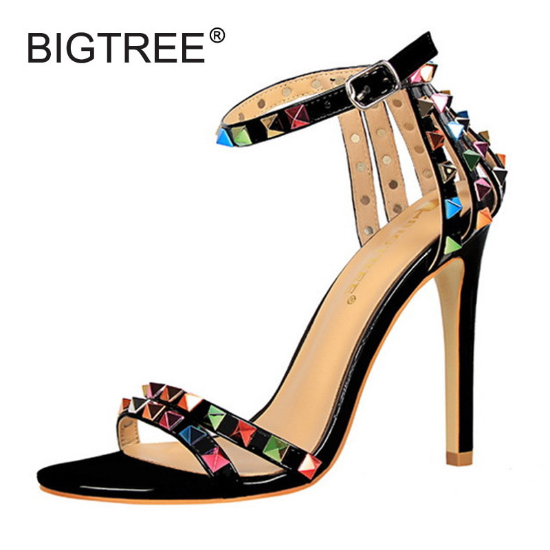 Rivet Gladiator Thin High Heels Sandals Women 2017 Summer Buckle Strap Pumps Patent Leather Evening Party Wedding Shoes Woman fashion buttons rivet studs high heels designer gladiator sandals red black women pumps party dress sexy wedding shoes woman