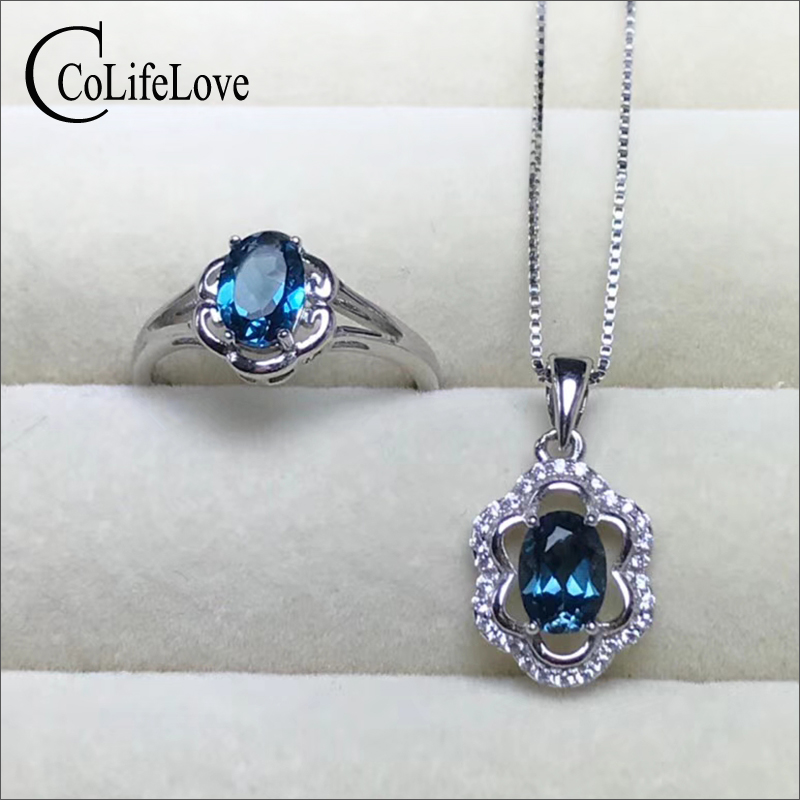 100% Natural light blue topaz jewelry set for party rose gold color 925 silver topaz ring earrings pendant set gift for girl vintage silver topaz pendant for party 10 mm 14 mm 5 ct natural topaz pendant rose gold color 925 silver topaz wedding jewelry