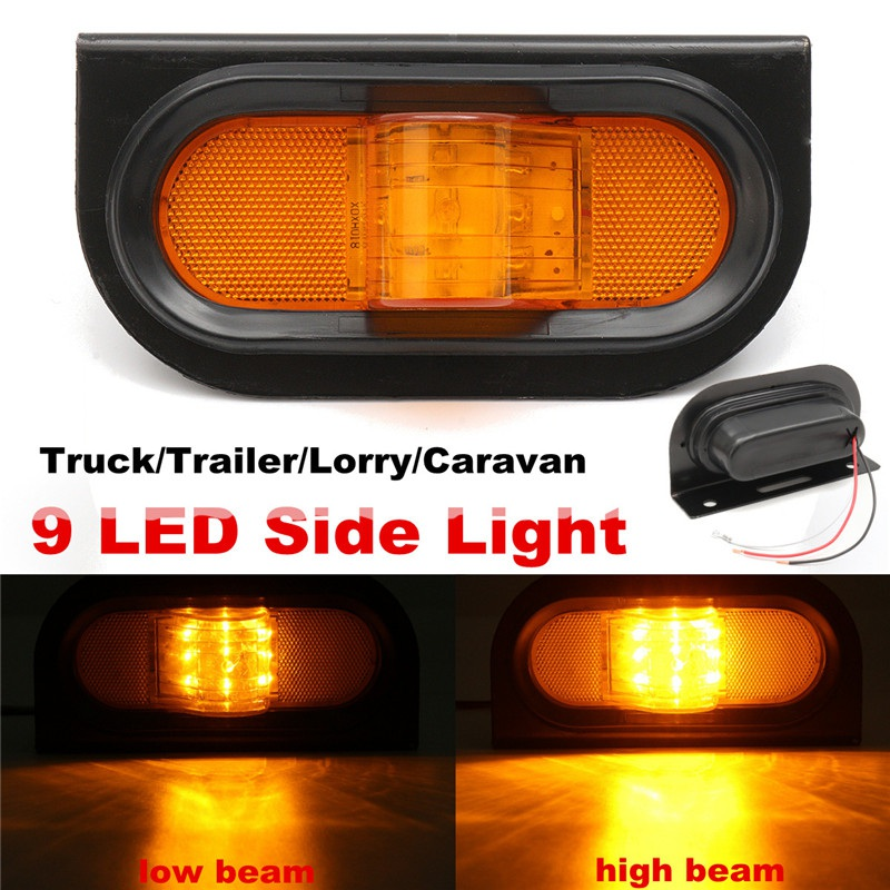 1Pcs 12V 9 LED Side Marker  Indicators Light Sidelight Lamp For Car Truck Trailer Lorry Caravan Waterproof