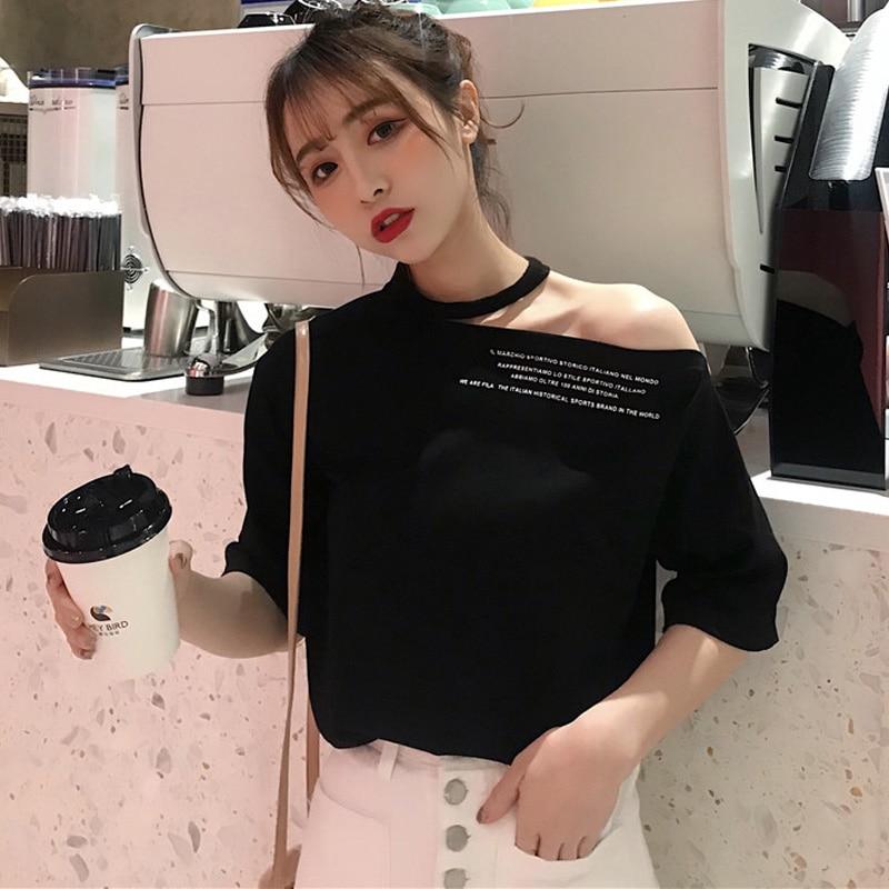 Harajuku Simple Letter Print T-shirts Female Korean Sexy Casual T Shirt Women Fashion Tshirt O-neck Summer Green Black White Top