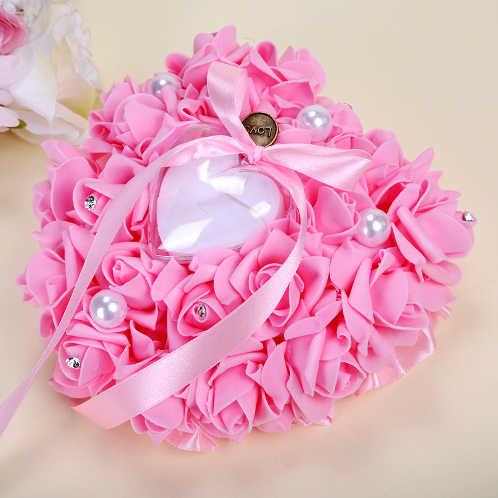 2018 Wedding Ring Pillow Heart Box With Ribbon Pearl For Wedding ...