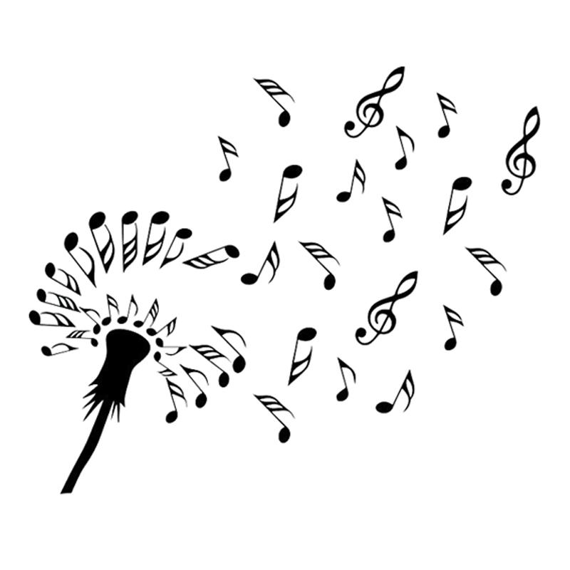 15 7cm 13 2cm Interesting Dandelion Flower Music Symbol Vinyl