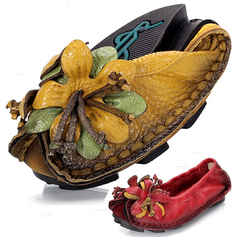 ФОТО Size 35-40 # 4 Colors Fashion Women Handmade Shoes Elegant Flower Designer Mother's Shoes Ethnic Chinese Girl Shoes C035