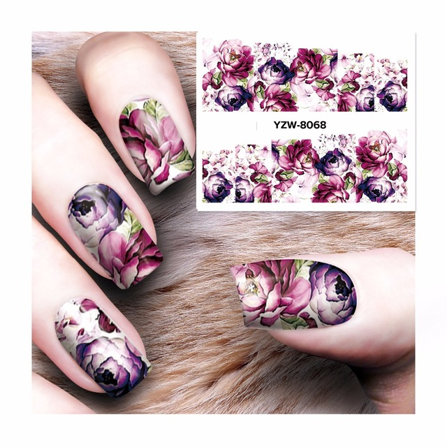 купить Water sticker for nails art decorations sliders purple flowers peony rose stickers adhesive nail design all decals accessoires 4 дешево