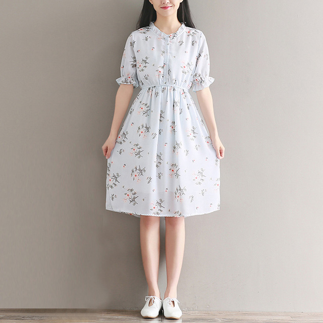cf085ea4d4 2017 Summer New Female Art Style Small Fresh Floral Print Loose Short  Sleeve Chiffon Dress Cute Casual Swing Dress YP0209