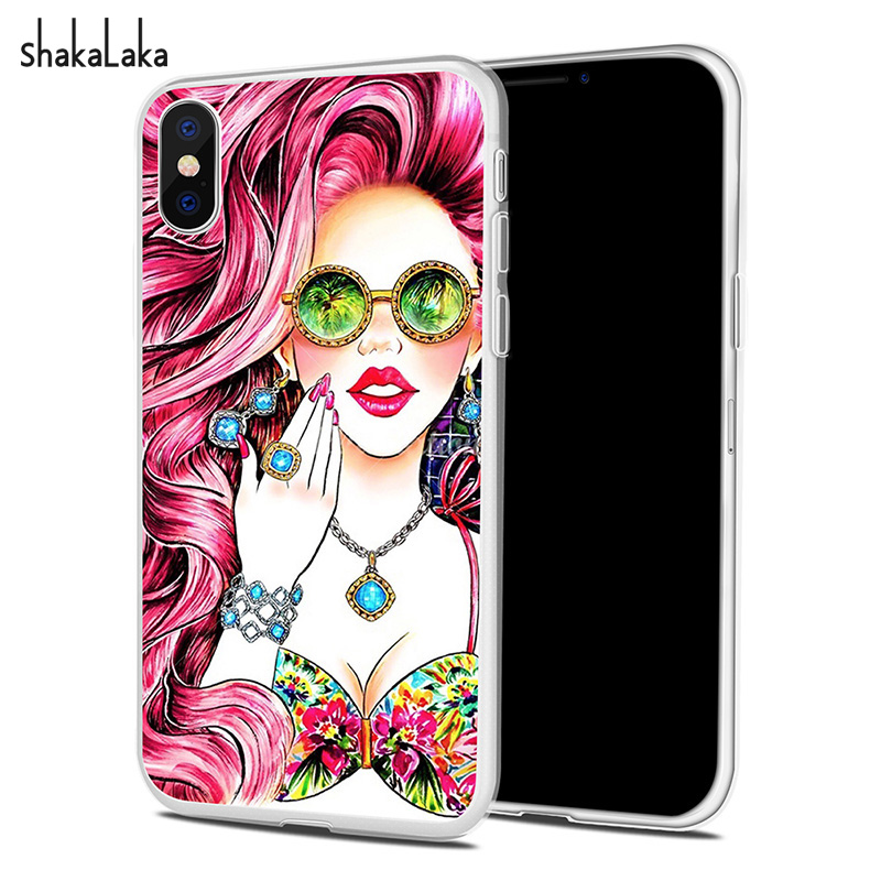 Sexy Girl Soft Phone Case Cover for iPhone X 5 5s SE 6 6S 7 8 Plus Back Clear Capa Blingbling Jewelry Shell Cute Fundas Coque