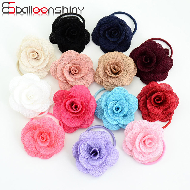 BalleenShiny 13Pcs/lot Baby Girls Flower Hair Rope New Style Beautiful Children Kids Elastic Hair Bands Fashion Gum Rubber Band