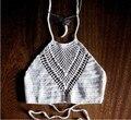 New Fashion 2015 Verão Mulheres Crochet Top Colheita Malha Praia Cami Boho Biquíni Top Colheita Halter Malha Oco Out Crochet Regatas