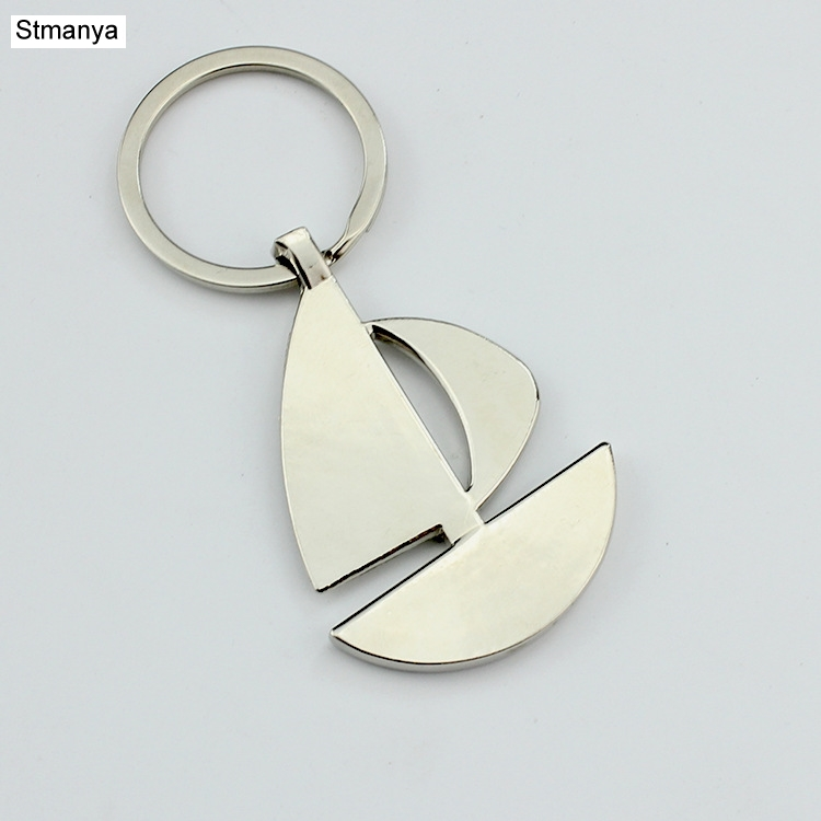 New Double sail boat Metal Keychain Ring Keyring Key Chain Lover Romantic Creative For Christmas and Birthday Gift #17141