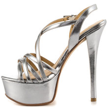 Silver Metallic Upper Shoes Ladies With Wrapping Straps Adjustable Closure 6 Inch Heel And 1 1/2 Inch Platform Women Sandals