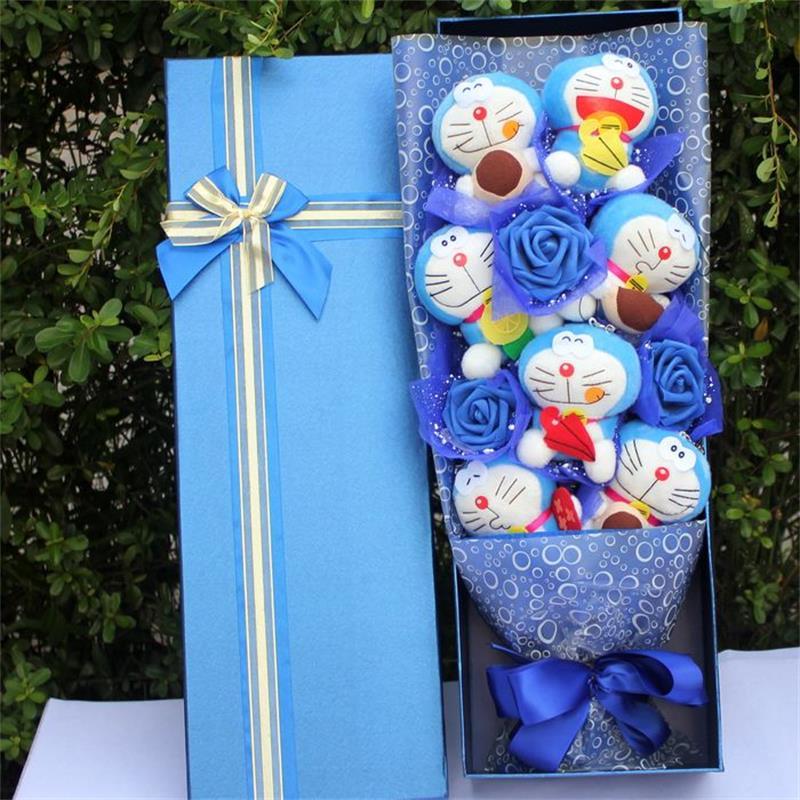 Vente chaude 7 mignon doraemon en peluche Animal en peluche jouet bande dessinée fleur bouquet cadeau boîte pour la saint-valentin cadeaux d'anniversaire pour fille