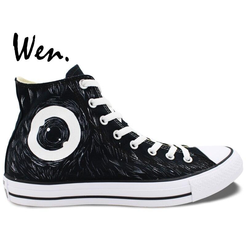 ФОТО Wen Black Hand Painted Canvas Sneakers Design Custom Mamafaka High Top Men Women's Black Canvas Shoes