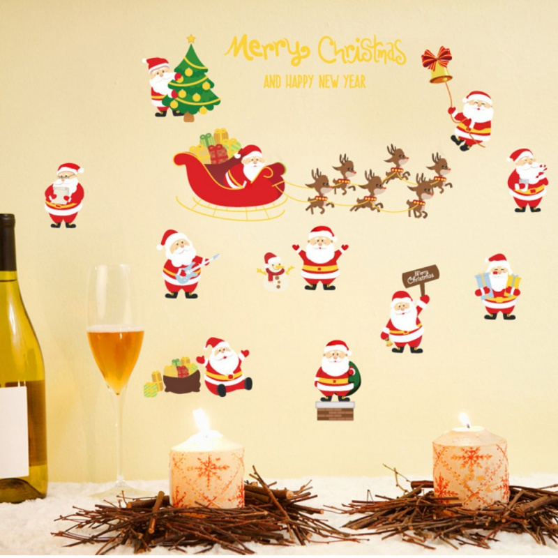 wall sticker Merry Christmas Tree Snowman Christmas New Years Shop Window Wall Sticker Home Party Bar Christmas Decorations