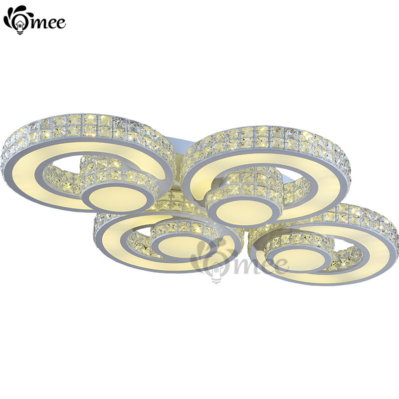 ФОТО Modern Remote Control Dimming Ceiling Lighting Ring Contracted / contemporary LED Light Crystal Luxury Living Room Bedroom Lamps