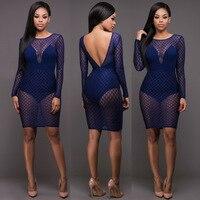 Elegant style 2017 bandage dress blue patchwork lace dress sexy backless mini bodycon dress SJ3036