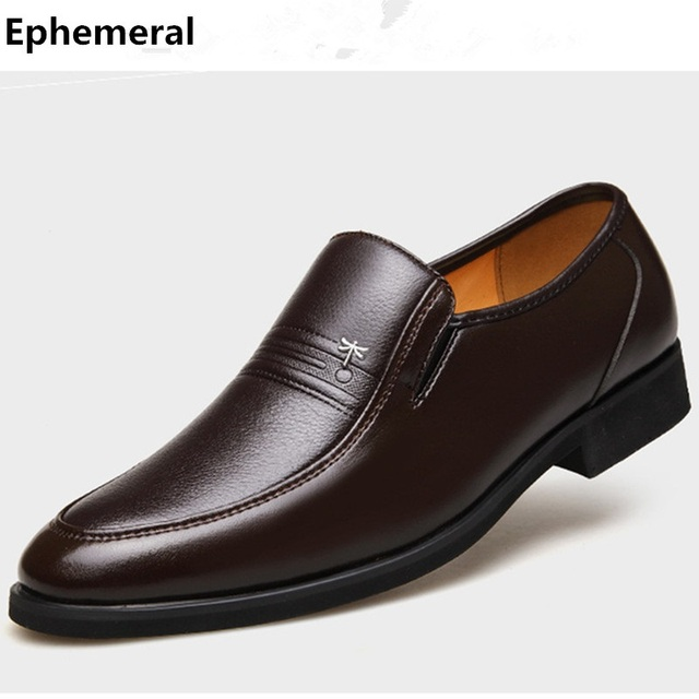 Men High Increasing Heel Dragonfly Split Leather Plus size EU37-48 Low Top Man's Winter Fur Loafers Kvoll Business Oxfords Shoes