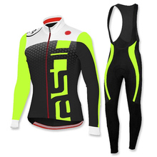 Ropa Ciclismo Invierno Winter Thermal Fleece Pro Cycling Jersey 2017 MTB Maillot Bike Men Fluorescent Green Cycling Clothing