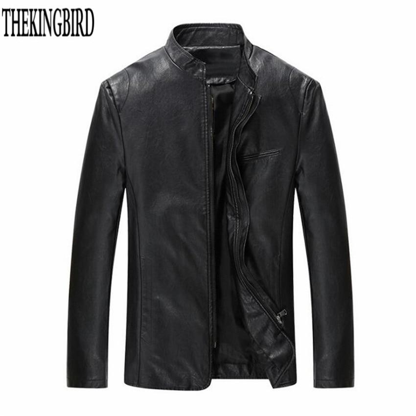 Hombres chaqueta de cuero con cremallera Negro Primavera / otoño - Ropa de hombre - foto 1