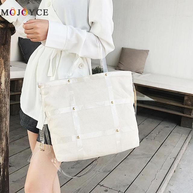 Solid Color Women Shoulder Bag Big Capacity Canvas Hasp Shopping Casual Totes Female Handbag 3
