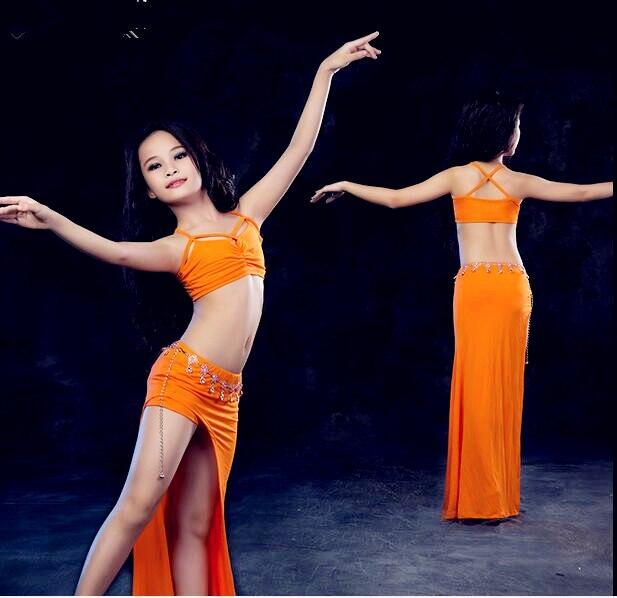 bdaf01b92b741 Costume de danse orientale pour fille d été ensemble 2 pièces vêtement de  danse Modal sans manches haut jupe longue bleu violet Orange livraison  gratuite ...