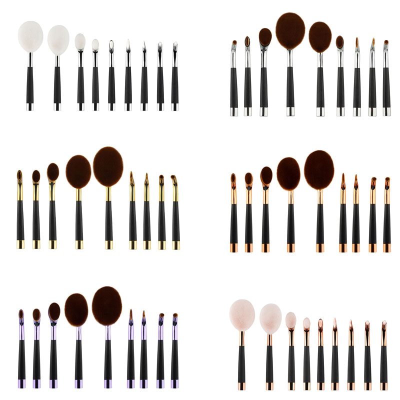 9pcs Makeup Brushes Set Oval Golf Toothbrush Powder Foundation Concealer Face Cream Brush Cosmetic Tools 88 HJL2017