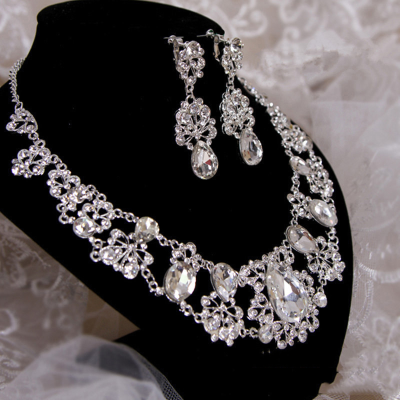 Bridal Luxurious Waterdrop Silver Diamante Crystal Bride 3pcs Set Necklace Earrings Crown Tiara Wedding Jewelry Set in Jewelry Sets from Jewelry Accessories