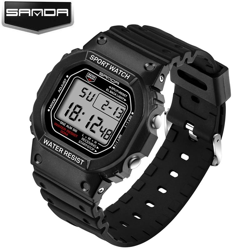 SANDA Luxury Brand Sport Watch Men Fashion Casual Military Watch Waterproof Digital LED Electronic Men Watch