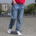 Мода Синие Джинсы Большие Мужчины Хип-Хоп Мешковатые Джинсы Прямые Свободные Fit мужские Джинсы Классические Скейтборд Брюки Большого Размера 42 44 46