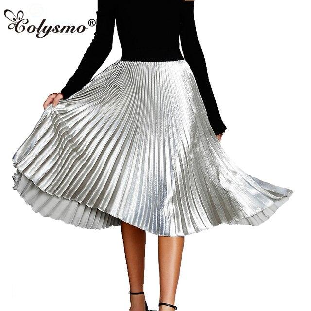 32befb090 Colysmo Vintage High Waist Skirts Womens Pleated Skirt Metallic Summer Skirt  Pink Casual Satin Silky Midi