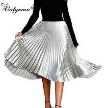 53618ff563f4 Colysmo Vintage alta cintura Faldas Mujer Falda plisada metálica falda de  verano Rosa informal de satén sedoso Midi Falda larga .