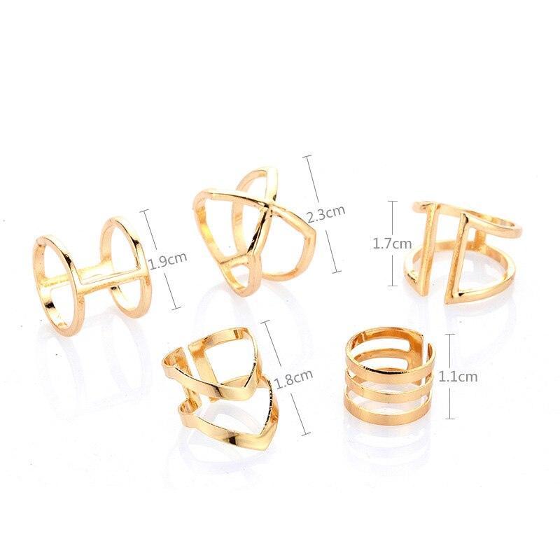 5 Pcs/ Set Classic Gold Colour V Chevron Rings Geometrical Irregular Ring Set Lady Charm Costume Jewelry Accessories Midi Rings 5