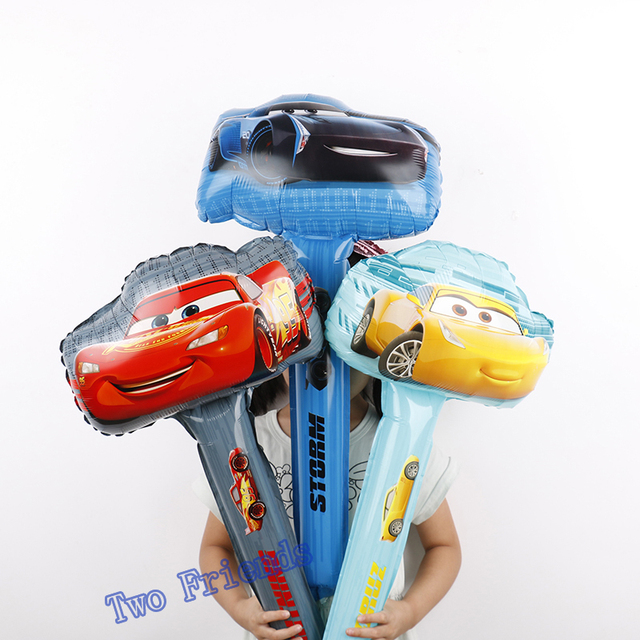 5pcs racing car hand stick foil balloons 3D cute car yellow red black party supplies birthday party decorations kids toys