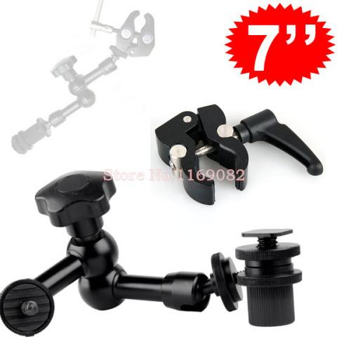 2 in 1 New 7 Adjustable Articulating Magic Arm Super Clamp Mount Kit For Camera DSLR