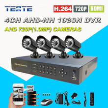 4CH Full 1080N Monitoring Surveillance CCTV System AHD-NH 4 channel DVR AHD 720P Waterproof Outdoor Security Safety Camera Kit