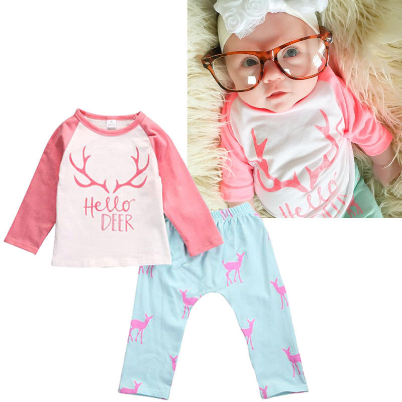 Newborn Toddler Infant Kids Baby Girl Clothes T-shirt Tops+Pants Outfit Xmas Set