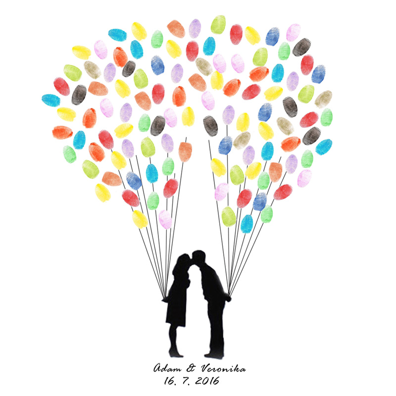 Wedding Fingerprint Tree Guest Book Signature Painting Couple\'s Kiss ...