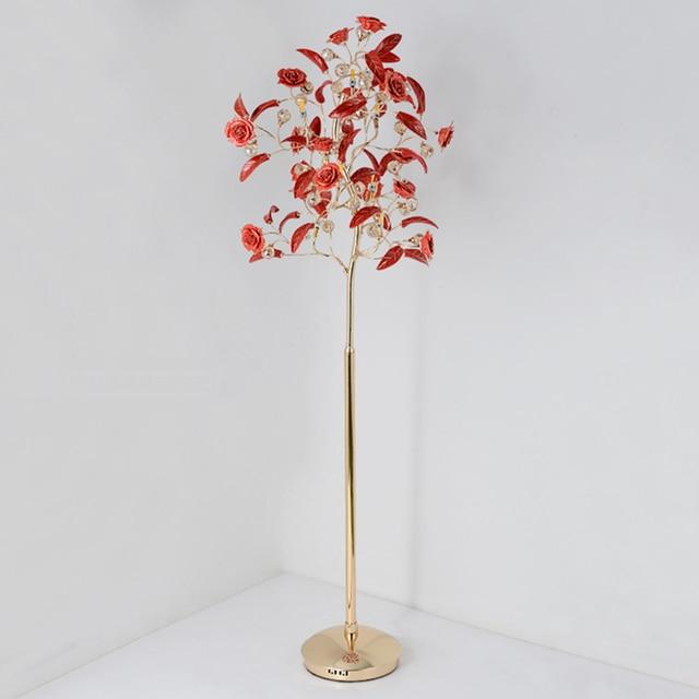 Post Modern Floor Lamps Living Room Decoration Gl Rose Flowers Gold Lamp Body Standing Lights Bedroom