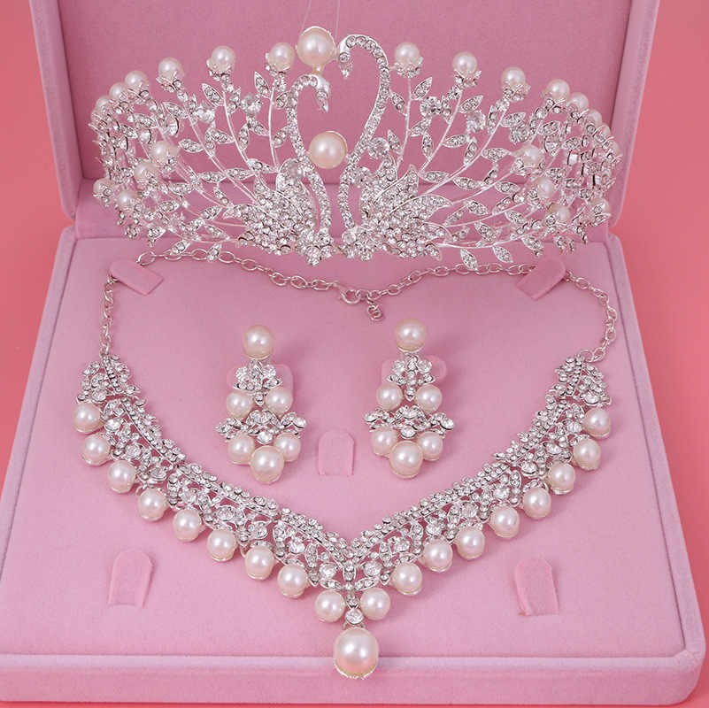 Gorgeous Wedding Tiara Simulated Pearls Jewelry Diadem Shiny Bridal Crown Big Queen Tiaras Rhinestone Crystal Hair jewelry Sets