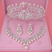 Gorgeous Wedding Tiara Simulated Pearls Jewelry Diadem Shiny Bridal Crown Big Queen Tiaras Rhinestone Crystal Hair jewelry Sets(China)