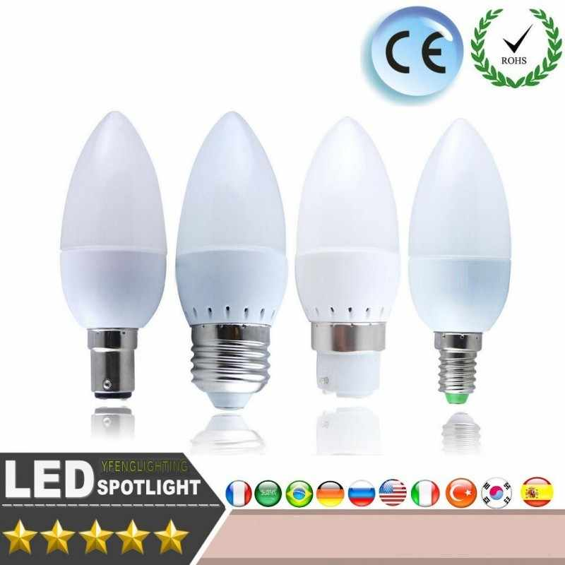LED Candle light Energy conservation CE ROSH Warm/white 5W 7W E14 E27 chandlier crystal Lamp Ampoule Bombillas LED Candle Light