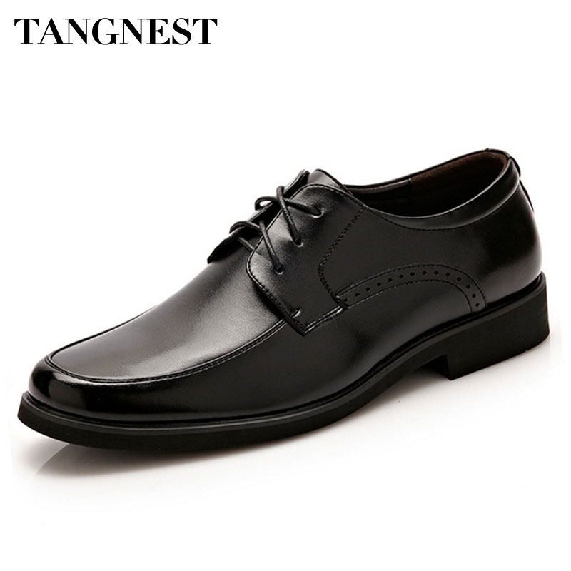 Tangnest New 2017 Men Dress Flats Fashion Round Toe Lace-Up Men Formal Shoes Black Casual Business Shoes Size 38~44 XMP615 tangnest men formal coat 2018 high quality business casual style men jacket new solid slim long black jacket size m 3xl mwn180