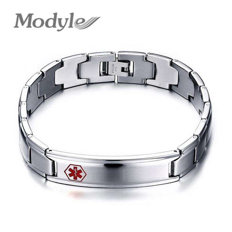 Medical Bracelet Men Jewelry Stainless Steel Bracelets Bangles