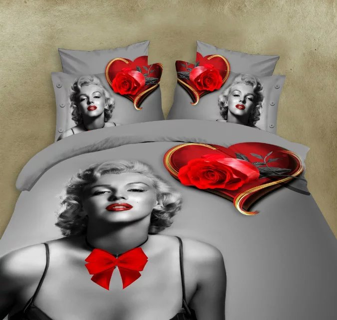 Marilyn monroe 3d literie reine taille literie ensemble fleurs 3d linge de lit maison textile literie housse de couette 4 pièces/ensemble housse de couette