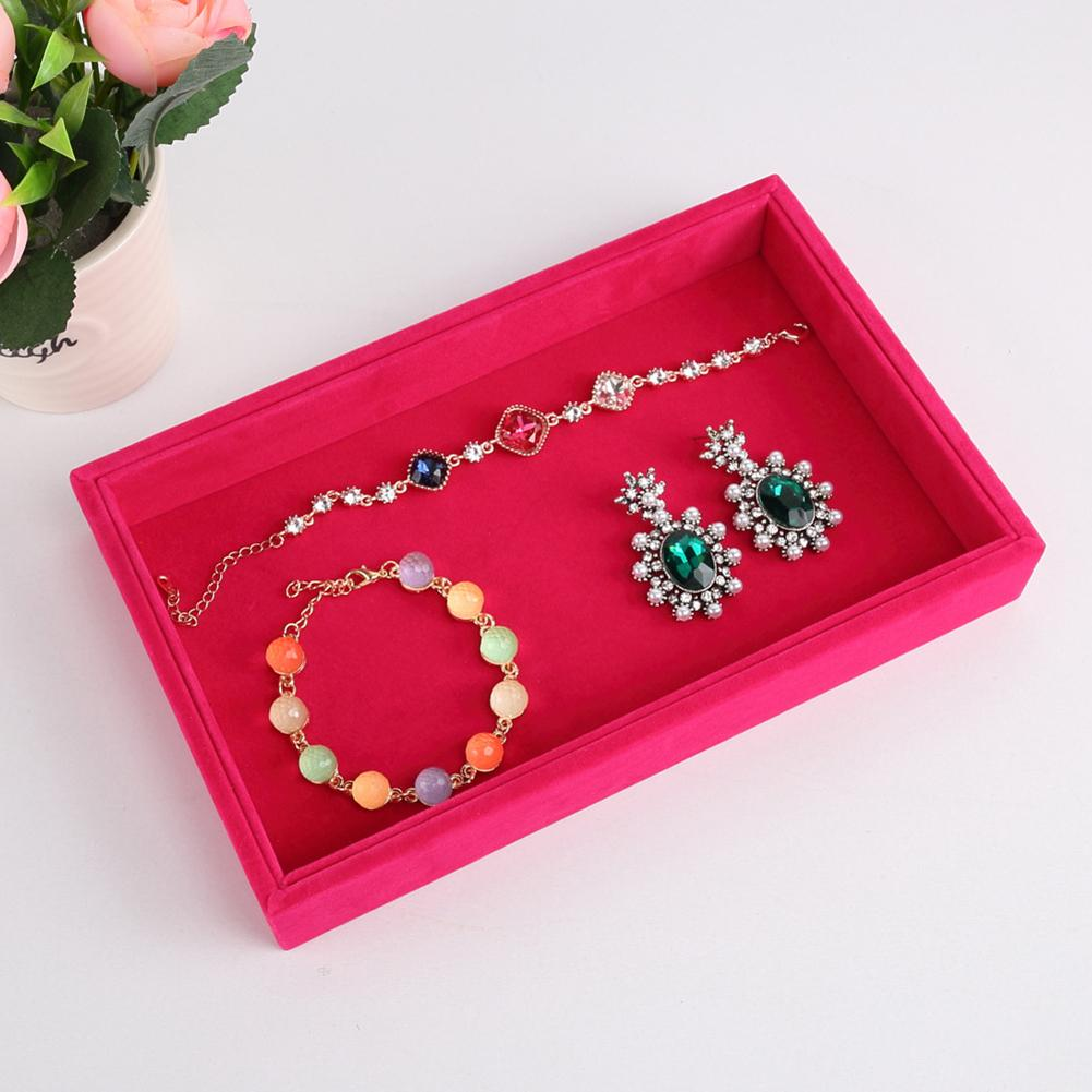 Stylish Velvet Cloth Rings Earrings Bracelet Jewelry Display Stand Plate Tray hot