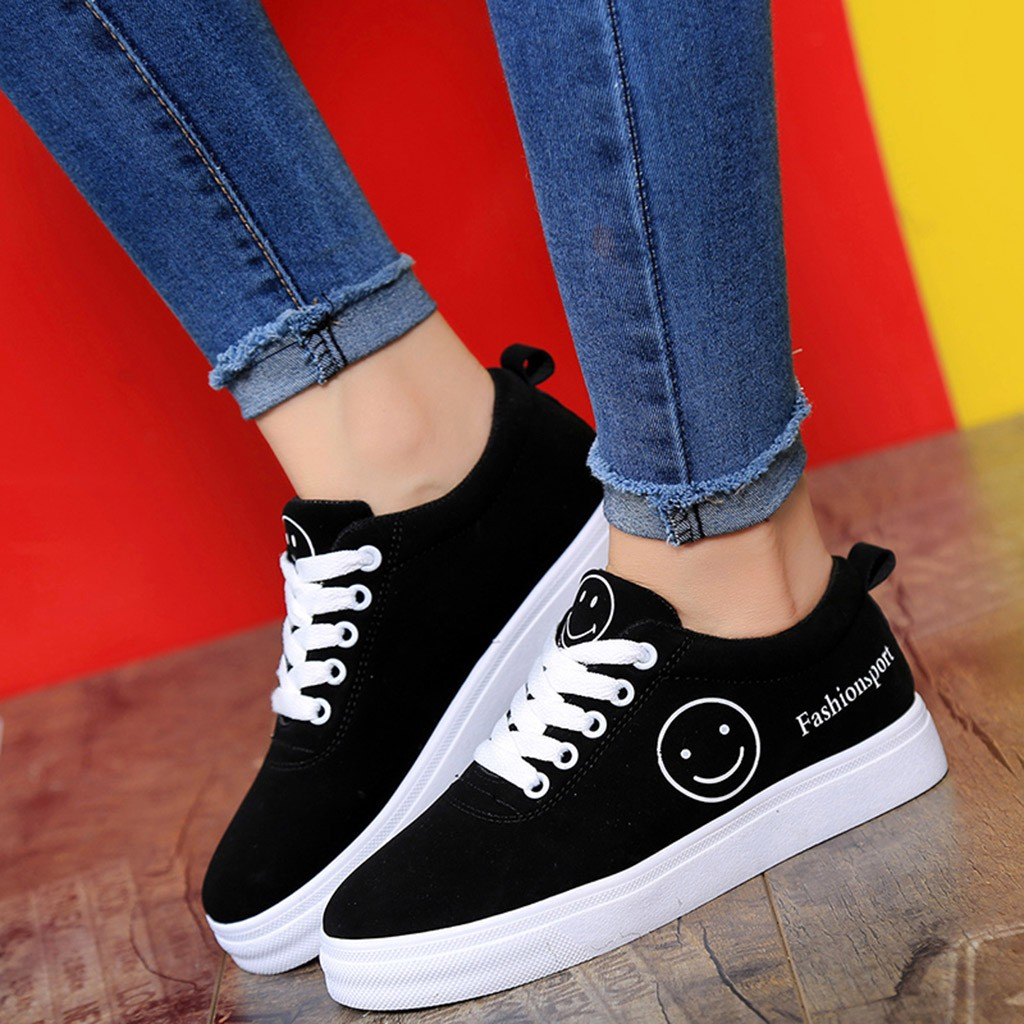 SAGACE Shoes Women Smile Letter Round-Toe Lace-Up Flat Casual Fashion Sport Student Ankle