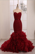 Real Burgundy Red Mermaid Wedding Dresses 2017 Sweetheart Ruched Colorful Gothic Bridal Gowns Non White Vestidos De Novia