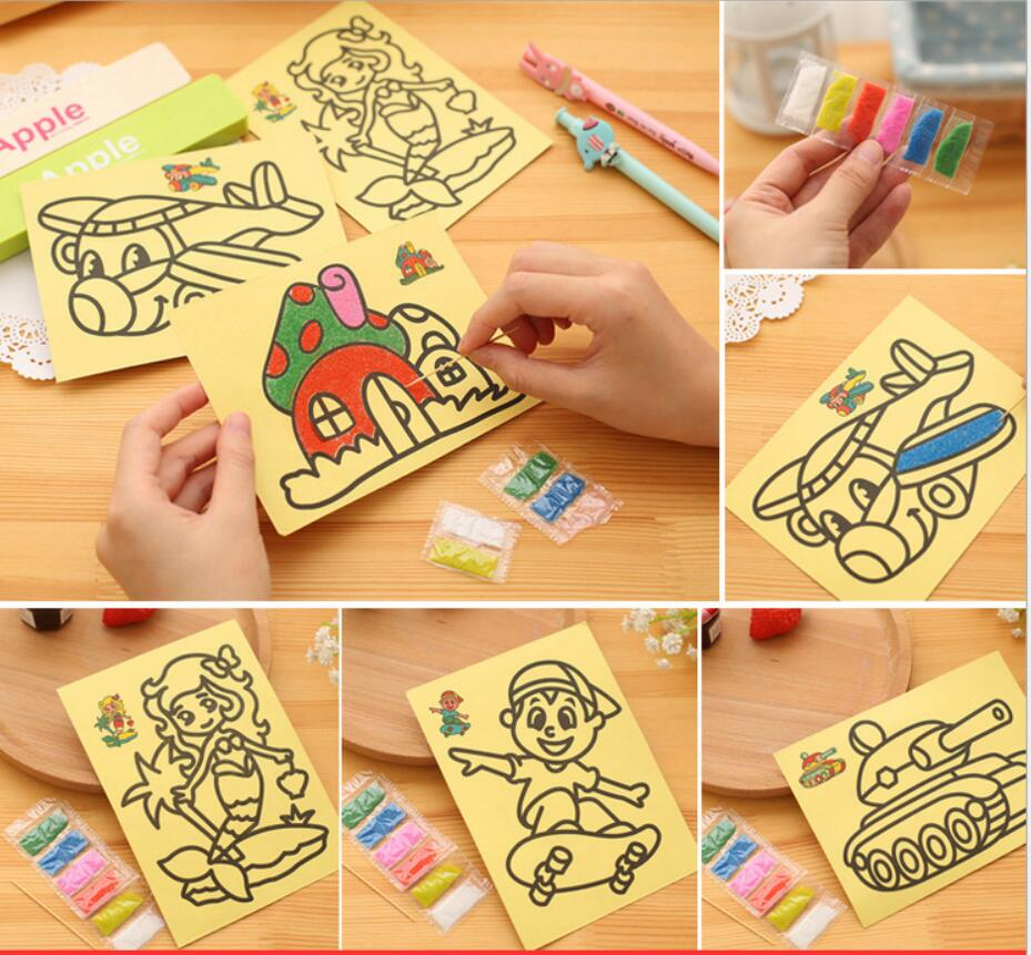 10PCS/LOT CM Children Kids Drawing Toys Sand Painting Pictures Kid DIY Crafts Education Toy Pattern Random 5 10pcs sand painting handmade colored cartoon drawing toys sand art kids coloring diy crafts learning sand art painting cards