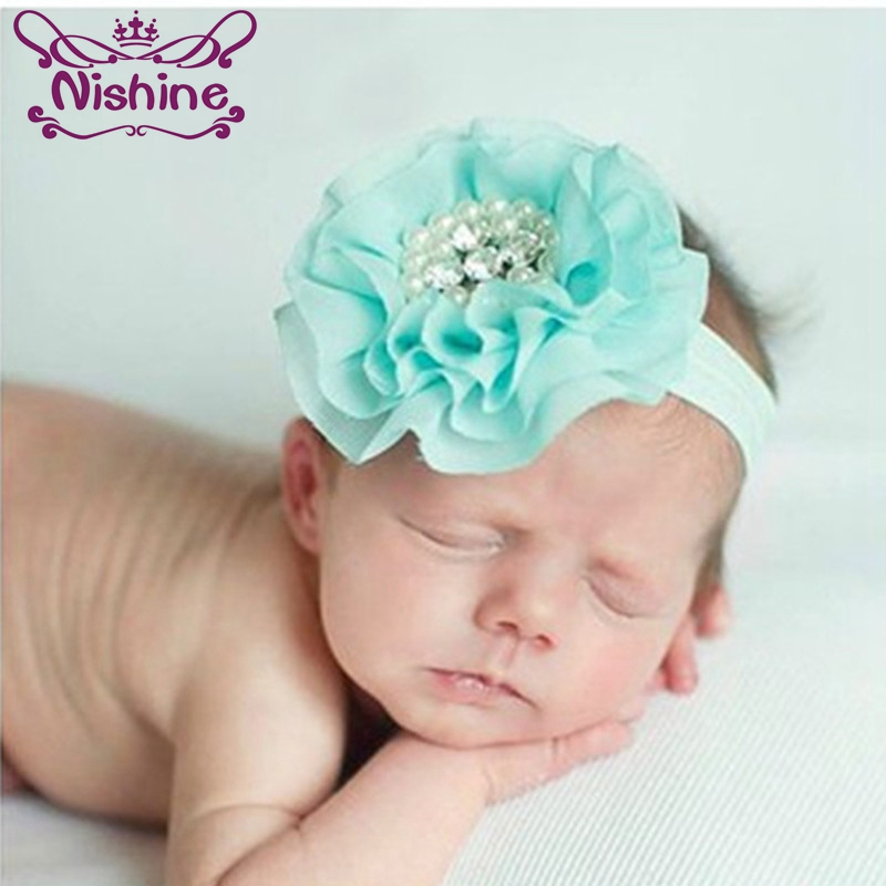 Nishine 15 Colors Children Kids Girls Pearl Diamond Chiffon Flower Headband   Headwear   Hair Band Head Piece Accessories